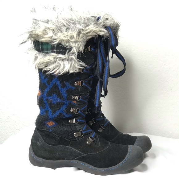 Muk Luks Knit Suede Lace Up Tall Snow Winter Boots